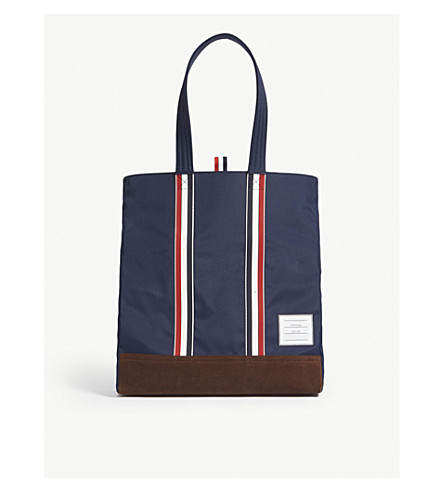 THOM BROWNE Unstructured woven and suede tote (Navy