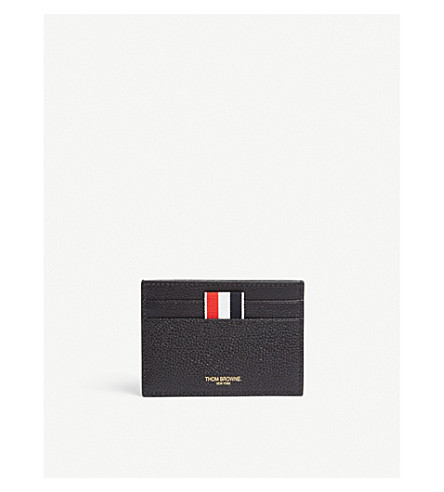 THOM BROWNE Dachshund leather card holder (Black