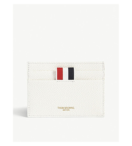 THOM BROWNE Buffalo check grained leather card holder (Fun+mix