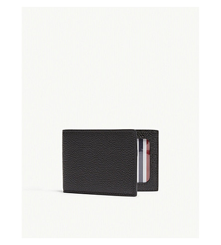THOM BROWNE City pebbled leather card holder (Black