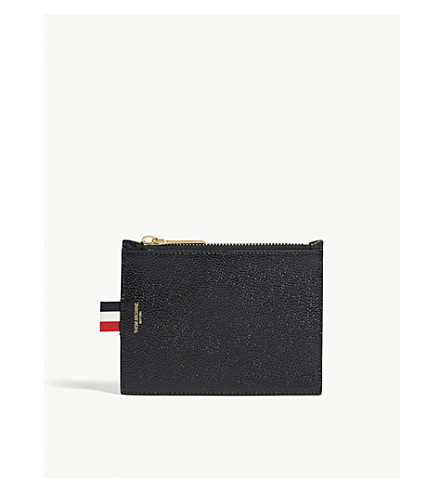 THOM BROWNE Pebbled leather coin purse (Black