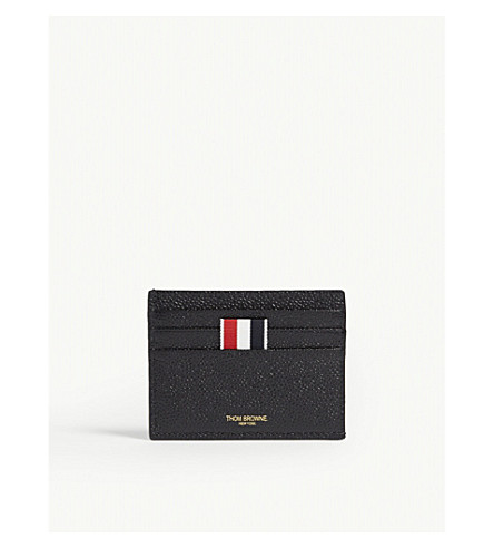 THOM BROWNE Pebbled leather card holder (Black