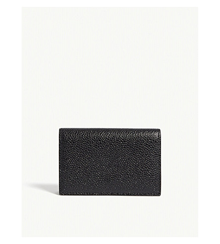 THOM BROWNE Leather business card holder (Black