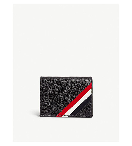 THOM BROWNE Diagonal stripe leather foldover card holder (Black
