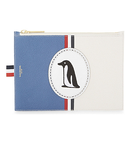 THOM BROWNE Skier leather pouch (Blue