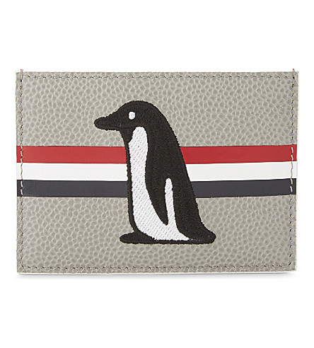 THOM BROWNE Penguin leather card holder (Med+grey