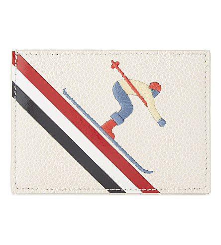 THOM BROWNE Skier leather card holder (White