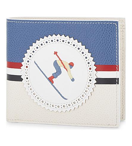THOM BROWNE Skier leather billfold wallet (White