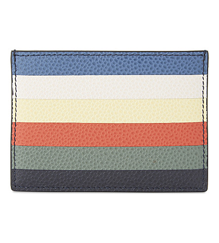 THOM BROWNE Striped leather card holder (Multi