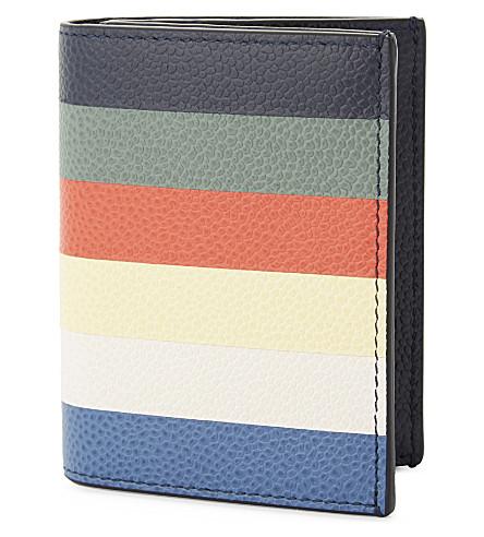 THOM BROWNE Striped leather card holder (Multi