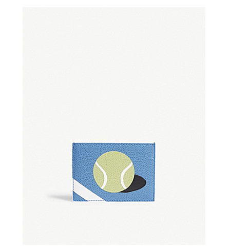 THOM BROWNE Tennis ball pebbled leather card holder (Med+blue