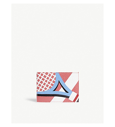 THOM BROWNE Tennis racket pebbled leather card holder (Med+pink