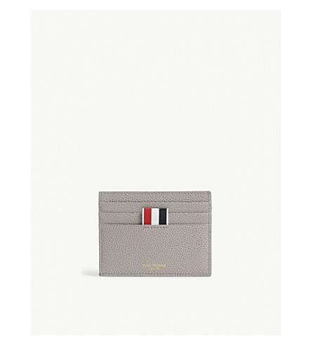 THOM BROWNE Pebbled leather card holder (Med+grey