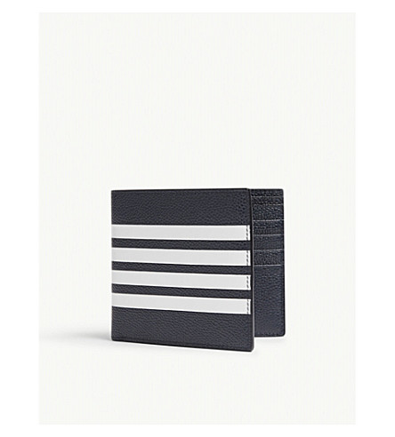 THOM BROWNE Four-stripe pebbled leather billfold wallet (Navy