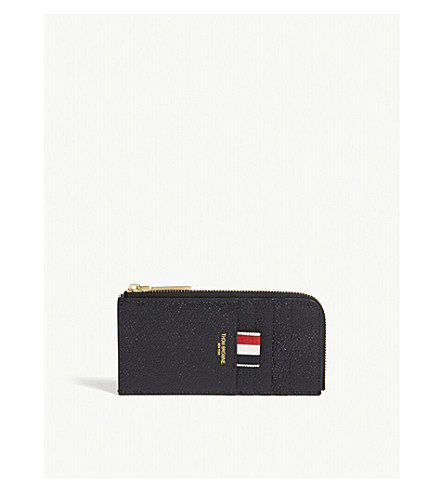 THOM BROWNE Pebbled leather half-zip card case (Black