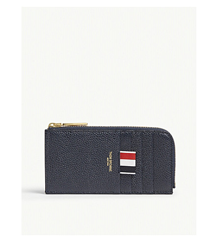 THOM BROWNE Striped half-zip leather wallet (Navy