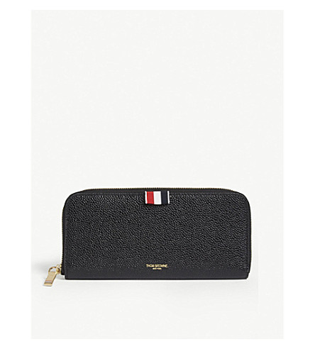 THOM BROWNE Pebbled leather long zipper-around wallet