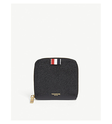 THOM BROWNE Pebbled leather zipper-around wallet