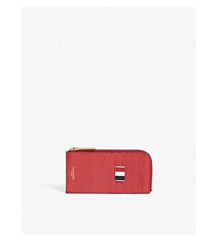 THOM BROWNE Pebbled leather card holder