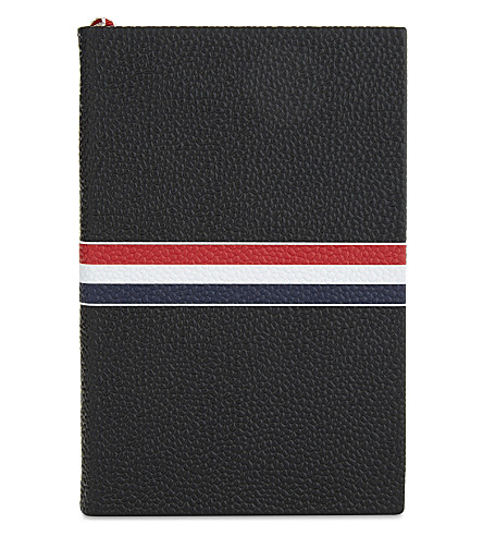 THOM BROWNE Small leather notebook (Black