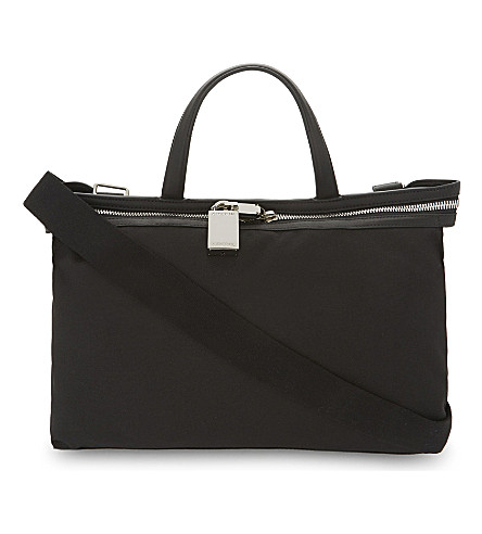CALVIN KLEIN Canvas and leather small tote (Black