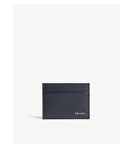 PRADA Saffiano leather card holder (Baltic+blue