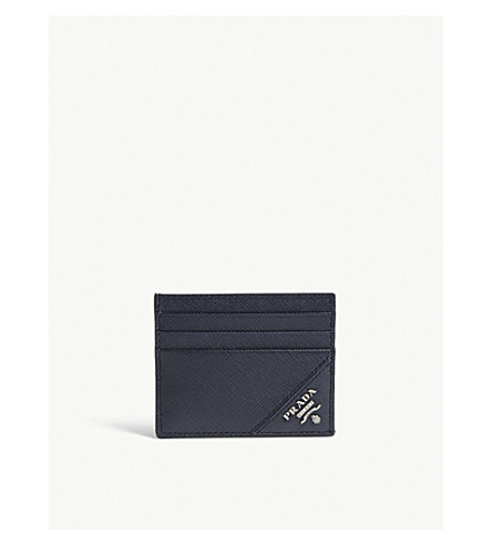 PRADA Contrasting corner Saffiano leather card holder (Baltic blue