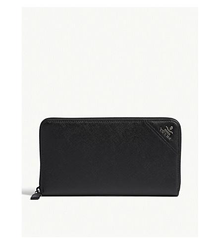 PRADA Saffiano leather travel wallet (Black