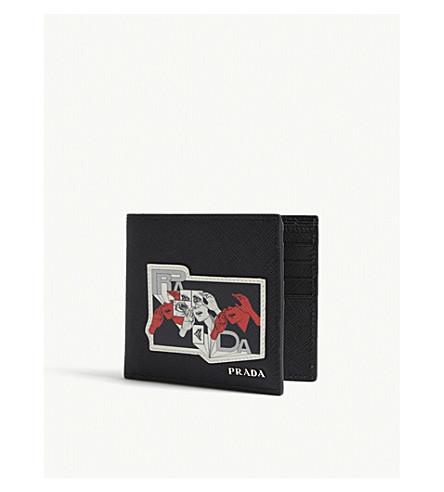 PRADA Eye patch Saffiano leather wallet (Black