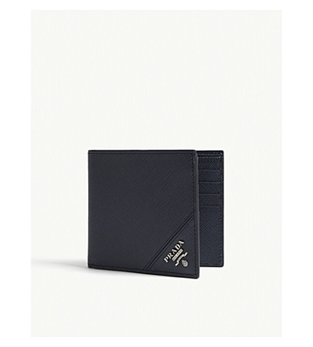PRADA Saffiano leather billfold wallet (Baltic+blue