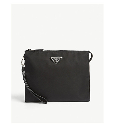 PRADA Triangle logo nylon wash bag (Black