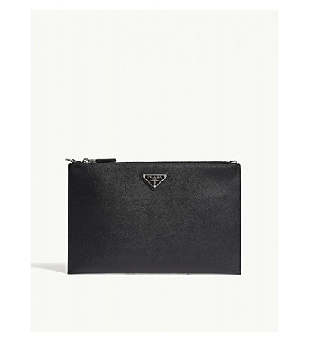 PRADA Saffiano leather zipped pouch (Black