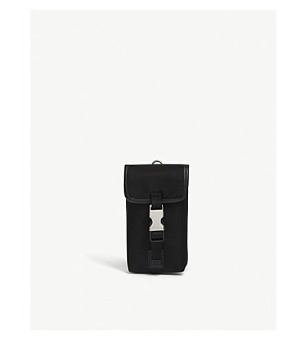 PRADA Single clip nylon keyring pouch (Black