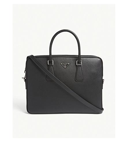 57c22e6c2797 PRADA Saffiano leather briefcase (Black