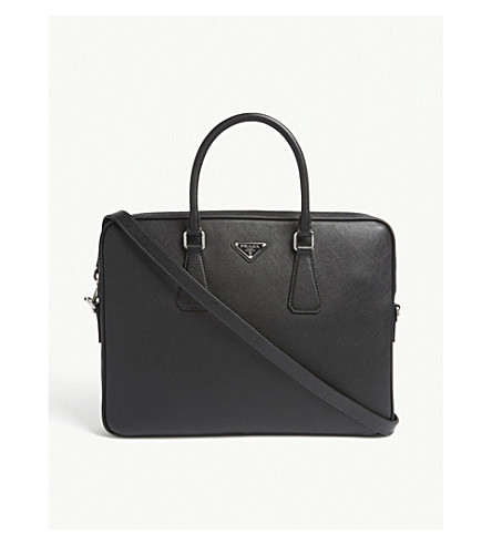 PRADA Saffiano leather briefcase (Black