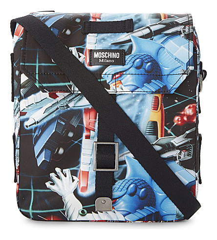 MOSCHINO Small Transformers print shoulder bag (Blue+multi