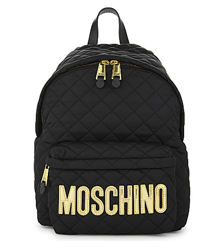 MOSCHINO Logo quilted backpack (Blk+gold