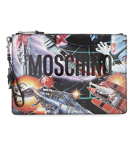 MOSCHINO Transformers patent leather pouch (Blue+multi