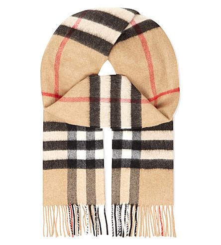BURBERRY Giant check cashmere scarf (Camel