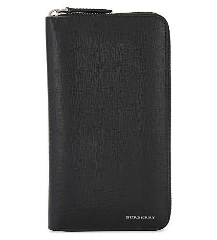 BURBERRY London leather zip-around wallet (Black
