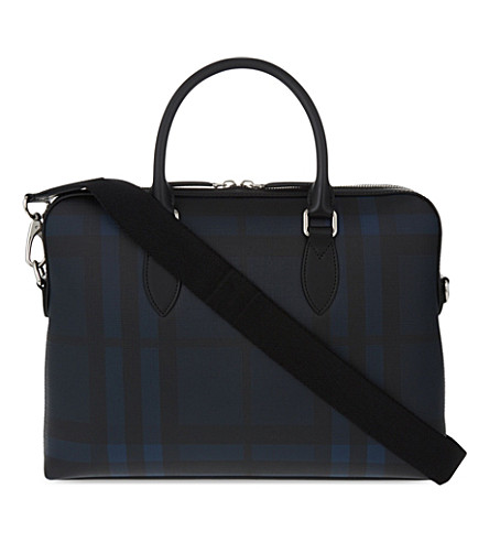 BURBERRY The Barrow coated cotton briefcase (Navy+black