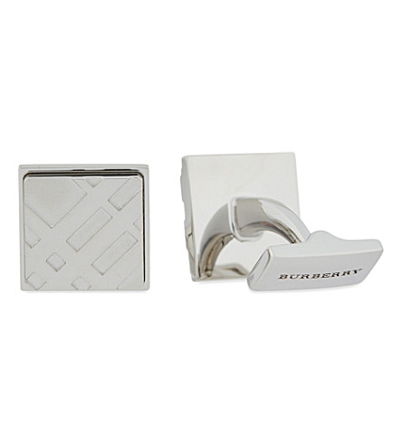 BURBERRY Check embossed square cufflinks (Silver