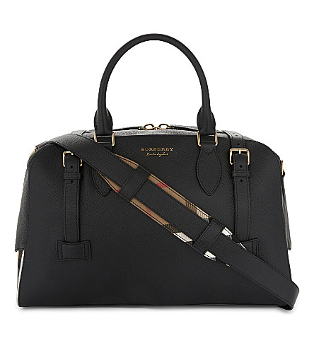 BURBERRY Bankston house check leather holdall (Black