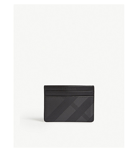 BURBERRY Sandon check print leather card holder (Charcoal