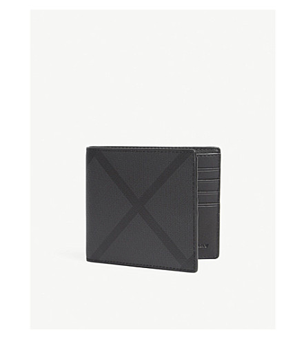 BURBERRY London check leather wallet (Charcoal