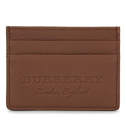 BURBERRY Embossed leather card holder (Chestnut+brown
