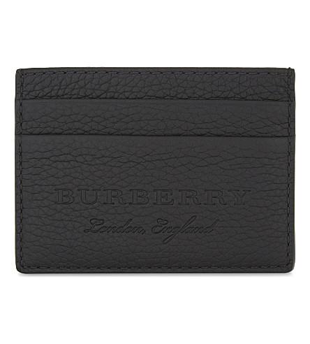 BURBERRY Embossed leather card holder (Black