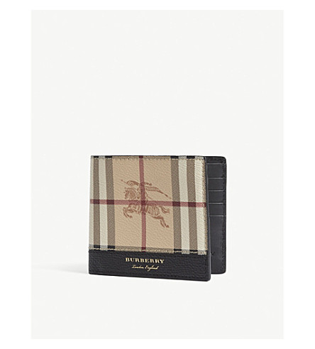 BURBERRY Haymarket check leather billfold wallet (Blk+tan