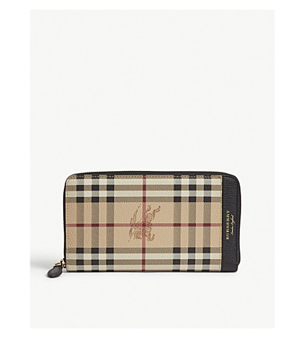 BURBERRY Sandon Haymarket check print leather travel wallet (Blk+tan