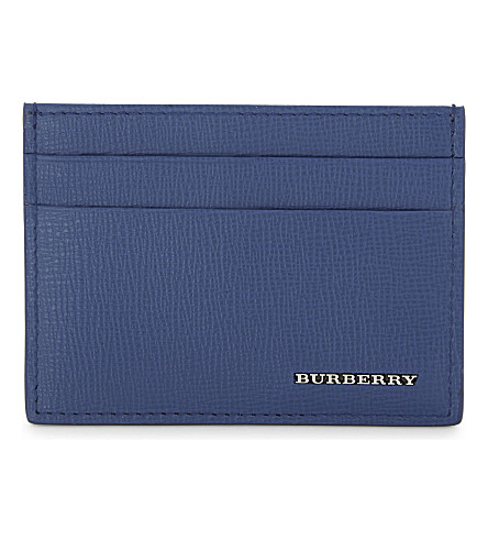 BURBERRY Sandon grained leather card holder (Deep+blue